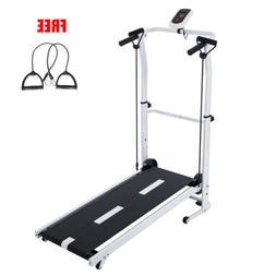 Folding Manual Treadmill Portable Running Home Gym Fitness W