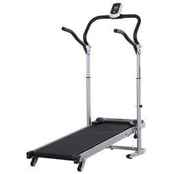 Folding Manual  Walking Treadmill Machine Sit Up Bench w/ LC