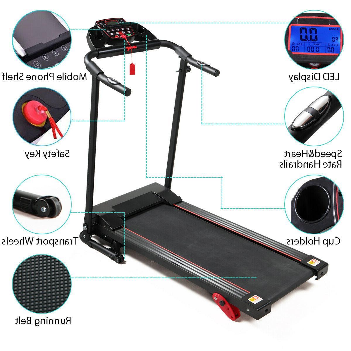 Folding Treadmill Support Motorized Power Running Fitness Machine